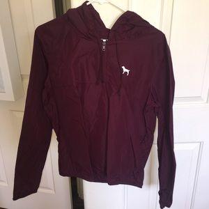 PINK Maroon Wind Breaker / Rain Jacket